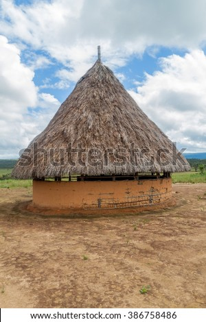 Simple house in an indigenous village in National Park Canaima, Venezuela