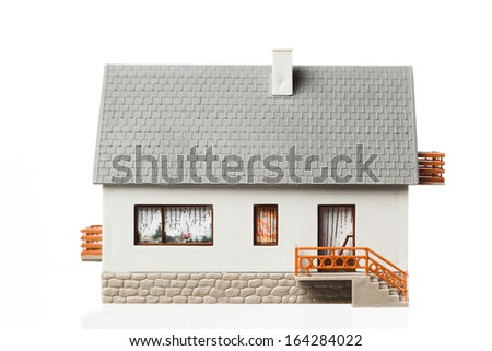 simple house, isolated on white - stock photo