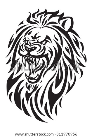 Simple icon illustration of a roaring lion head in white background - stock photo