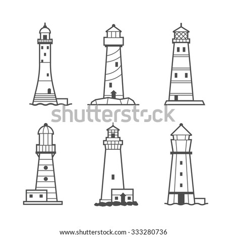 Simple icon or logo set of black and white lighthouses. Searchlight towers for maritime navigational guidance - stock photo