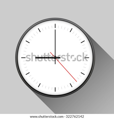 Simple illustration of clock with hour, minute and second arrows, isolated on white background, with long shadow.  - stock photo