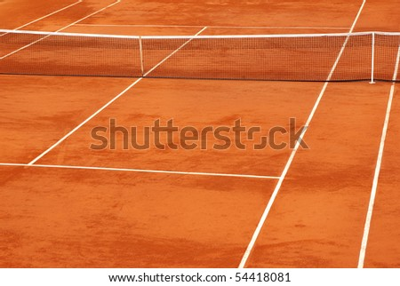 Simple image of a tennis base in clay. - stock photo