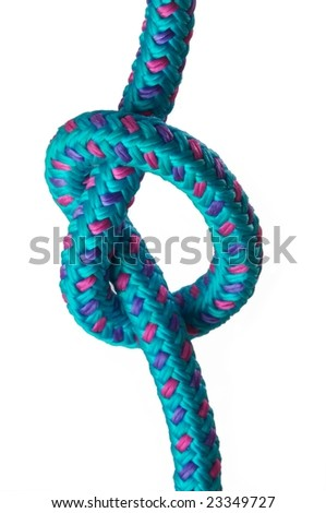 Simple knot on a loop on a blue rope, isolated on a white background