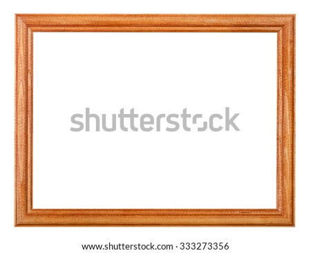 simple lacquered narrow wooden picture frame with cut out blank space isolated on white background - stock photo