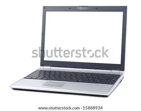 Simple laptop isolated over white background - stock photo