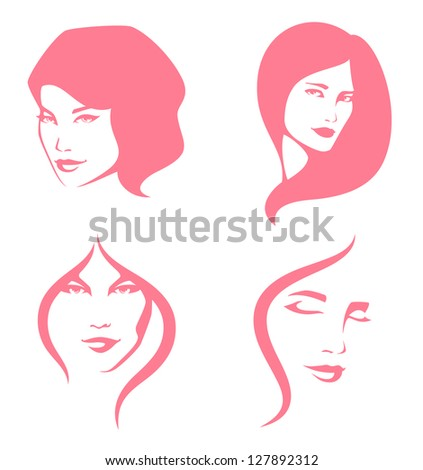 simple line illustration of beautiful women suitable for hair care or beauty salon - stock photo