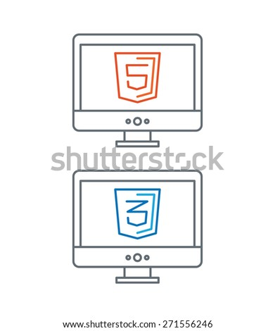 simple line illustration of web development icons, html and css - isolated on white background - stock photo