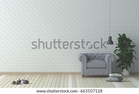 Simple Living Roomarmchair In Front Of White Wall Interior Design 3D Illustration Scandinavian