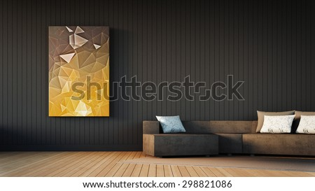Simple Living room / 3D Render Image - stock photo
