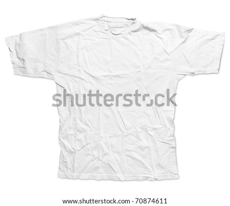 Simple male white tee shirt - stock photo