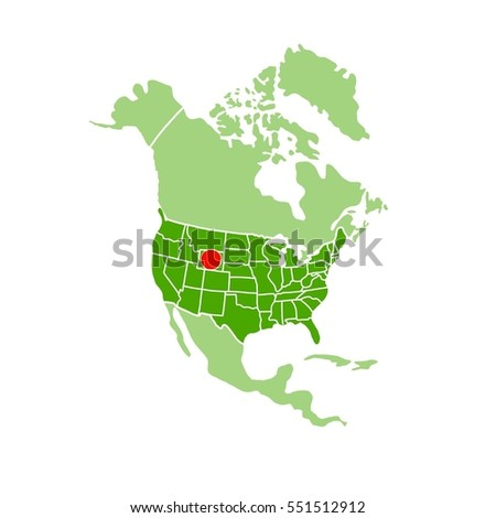 Simple Map America Showing Location Montana Stock Illustration