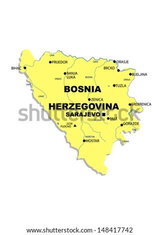 Simple map of Bosnia Herzegovina - stock photo