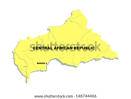 Simple map of Central African Republic - stock photo