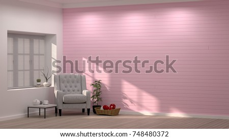 Simple Modern Living Pink Room Armchair Stock Illustration 748480372 ...