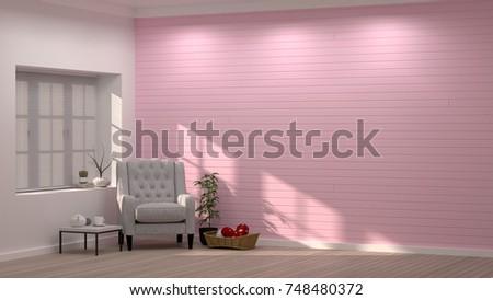 Simple Modern Living Pink Room Armchair Stock Illustration 748480372 ...