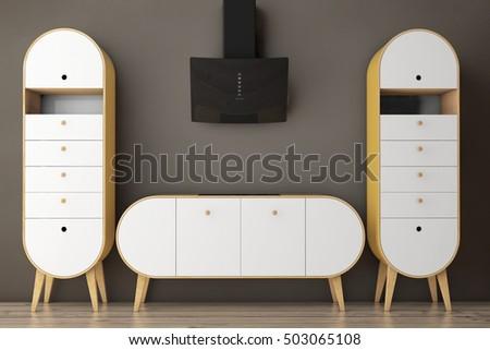 Simple Modern Olive Green Kitchen On Stock Illustration 503065108