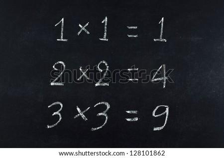 simple multiplication equation on blackboard - stock photo