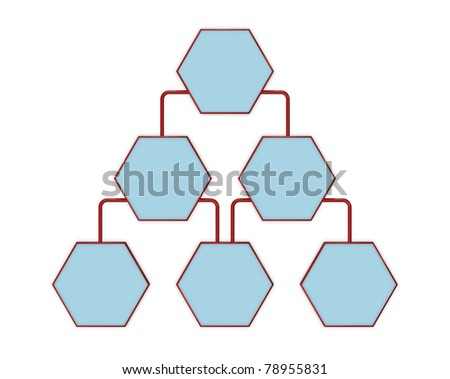 Simple Organization Chart Blank Spaces 3D Stock Illustration