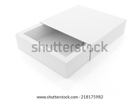 Simple package box on white - stock photo
