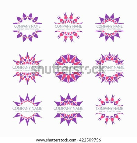 Simple pink geometric abstract symmetric shapes set. Modern business icon collection. Logo template. Hexagon round ornament. Symbols, emblems, element and logotypes. - stock photo