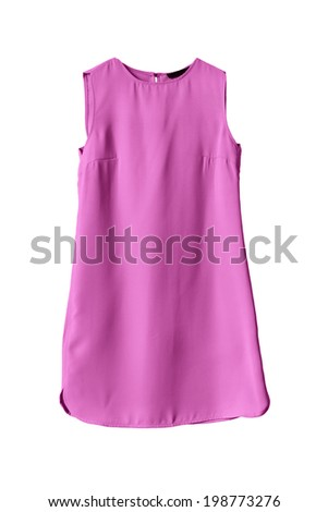 Simple pink mini dress on white background