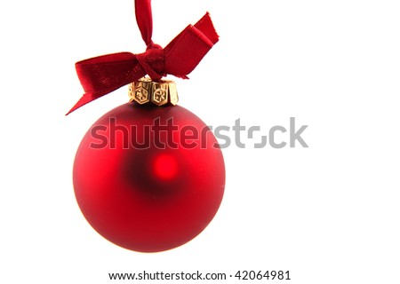 simple red christmas ball with ribbon and bow