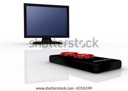 simple remote pointing in black tv - stock photo