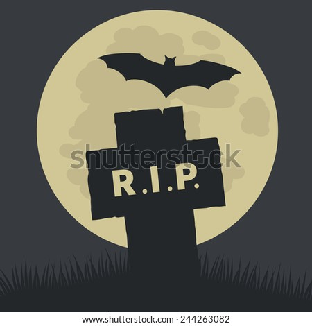 Simple Rest in Peace Icon Graphic Design  Emphasizing Silhouette Cross and Bat on Ground with Big Full Moon at the Back. - stock photo
