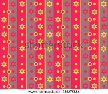 Simple retro striped pattern with stars and circles - stock photo