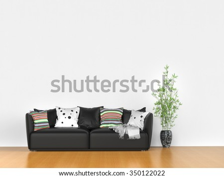 Simple room with modern sofa  - stock photo