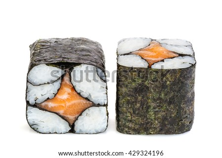 Simple sake maki sushi, two rolls isolated on white