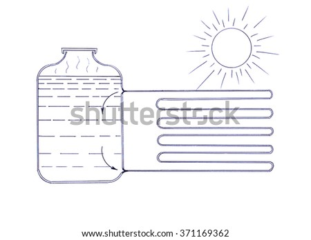 Simple scheme of the heater working on solar energy - stock photo