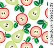 Simple seamless apples and pears background - stock photo