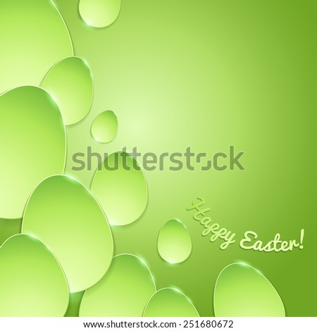 Simple shiny flat eggs on gradient background - green color. Good for Easter design. - stock photo