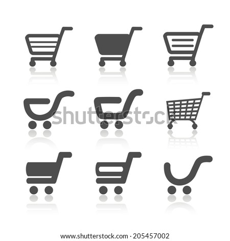 simple shopping cart, trolley with shadow, item, button
