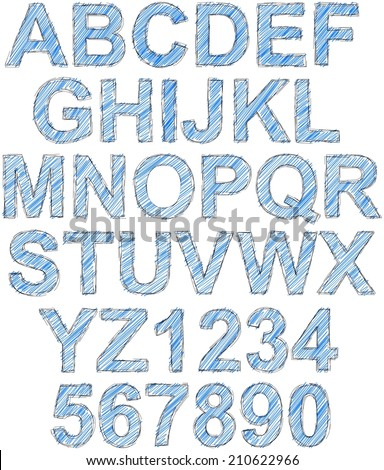 Simple sketched and hatched complete alphabet - stock photo