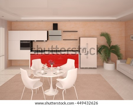 Simple spacious kitchen in a modern style, 3d rendering. - stock photo