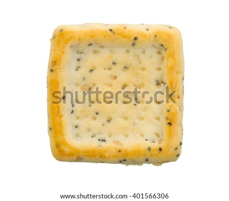 Simple square cracker isolated on a white background - stock photo