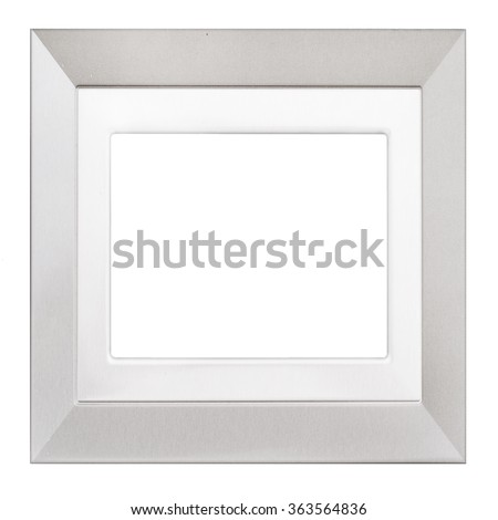 Simple square silvery picture or photo frame. Isolated on white. Textured, modern design.
