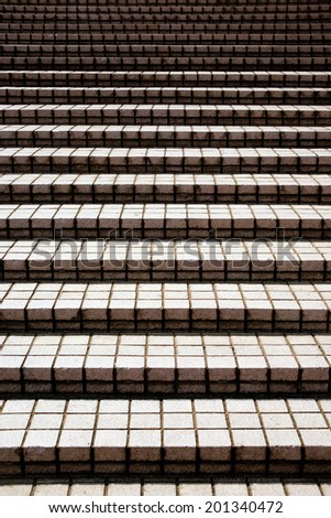 Simple stairway steps made of ceramic tiles - stock photo