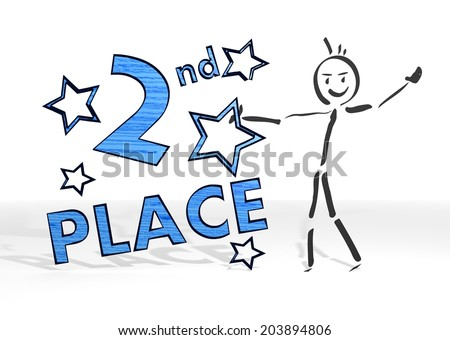 simple stick man presents a 2nd place symbol white background - stock photo