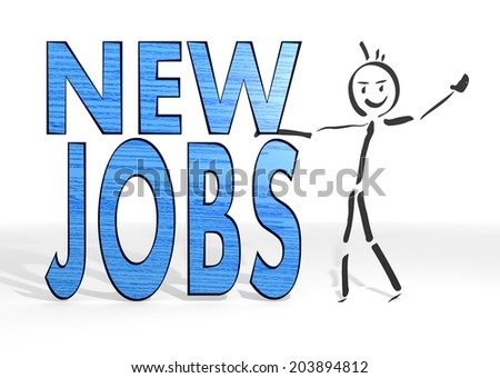 simple stick man presents a new jobs sign white background - stock photo