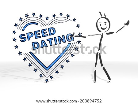 simple stick man presents a speed dating sign white background - stock photo