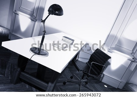 Simple study interior with a desk and anglepoise lamp in a white paneled room with herringbone parquet floor, angled view. 3d Rendering - stock photo