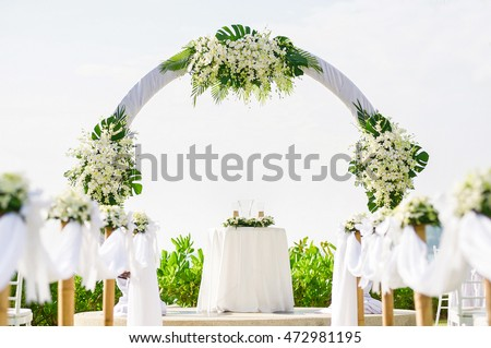 Simple style wedding arch decoration venue stock photo 472981195 simple style wedding arch and decoration venue setup on tropical beach outdoor beach junglespirit Choice Image