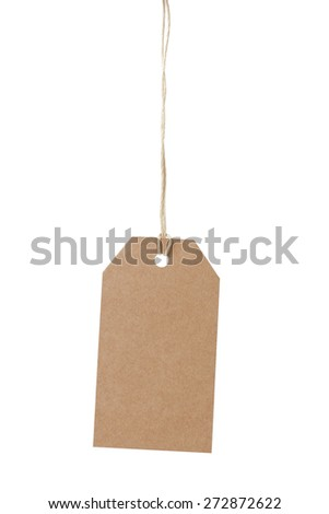 simple tag or label from craft paper isolated - stock photo