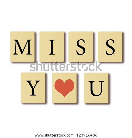 Simple text written on chip I miss you, valentines concept. - stock photo