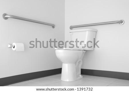 Simple Toilet & Bathroom with ADA Grab Bars - stock photo