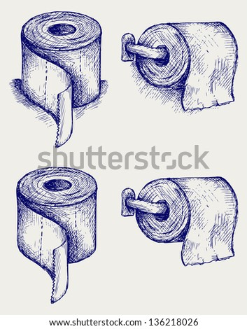 Simple toilet paper. Doodle style. Raster version - stock photo