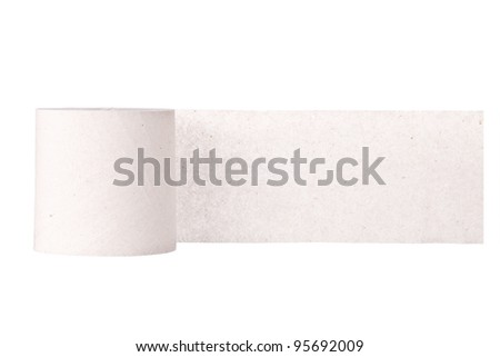 Simple toilet paper on white background - stock photo